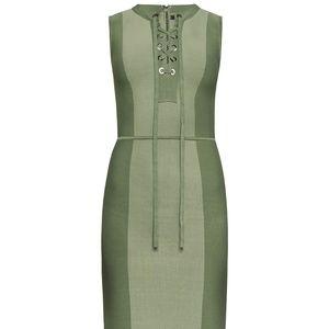 BCBG Safari Fitted Dress Earth Green